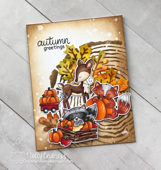 Fall woodland animals card by Holly Endress | Harvest Tails Stamp Set, Tree Rings Stencil, and Autumn Leaves Die Set by Newton's Nook Designs #netwonsnook #handmade