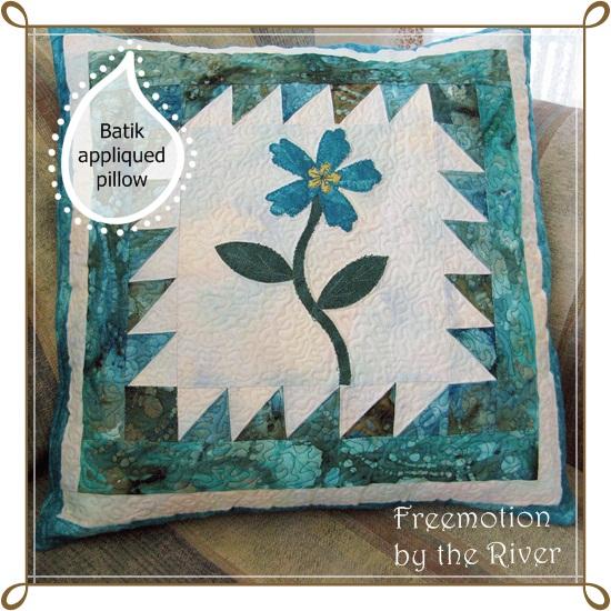 Photoscape  photo frame on batik appliqued pillow
