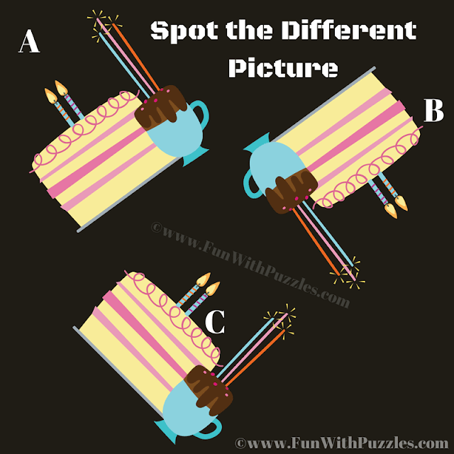 It is tough odd one out cake picture puzzle in which your task is find the cake image which is different from other two similar looking images