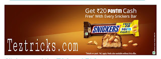 """Paytm - Snickers Offer:-   Hey Readers ! !   Here is an another amazing offer by Paytm - Snickers through which you people get Rs.20 Paytm cash for free on buying Snickers Pack Worth Rs.40 . So this is the best offer to buy Snickers at 50% Discounted price. This is the best offer by paytm & snickers that you also getting paytm wallet money too. So ghis will be the best offer of Snickers Loot. So without wasting your Time further proceed and know that how to redeem Snickers coupon on paytm. And redeem your Snickers coupon at Paytm.    Steps To Follow To Grab This Deal:-    * Visit Your nearby General Store and Buy Snickers Pack of Rs.40    ( Make Sure that Paytm Offer mentioned on that)  * After Buying you can see a coupon code inside the Pack of Snickers .   * Now Login/SignUp to Your Paytm account .   * And Visit This Link to Add Money in Paytm Wallet through Snickers Coupon Code.  * Done !! NOW You can see Your Money in your Paytm wallet.   Terms & Conditions :-    Participation in this Promotion namely, Paytm Snickers Offer (""""Offer"""") is purely voluntary and optional. This Offer is not valid in conjunction with any other Offer. Products also available without this Offer. By participating in this Offer, each participant is deemed to have accepted these terms and conditions. This Offer is being conducted by Mars India Ltd (""""Mars"""") in association with One97 Communications Ltd.'s (""""One97 or Paytm) (collectively referred to as Organizer) on One97's platform, namely www.Paytm.com ('website'), for Products defined hereinafter. This Offer is valid in India from 15th Feb 2017 till 31st July 2017 ('Offer Period') on purchase of Snickers Packs referred to as """"Products"""" and on limited stocks only. The Offer is valid for the citizens of India (except the employees and family members of Mars and One97, their associate companies, their joint venture partners, its co-packers, their distributors, their agents, their advertising and promotional agencies and their auditors.) After p"""