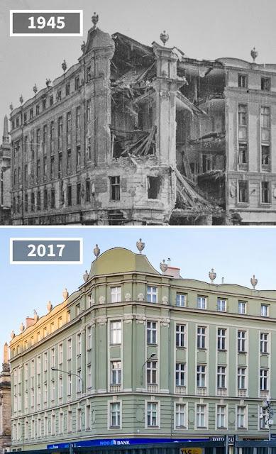 Antes y después calles de Ratajak y San Martín en Poznan, Polonia