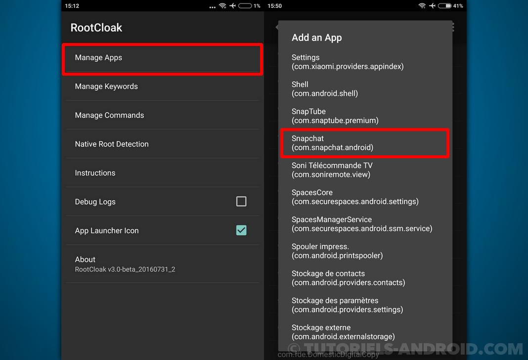 RootCloak : cacher le Root sur certaines applis