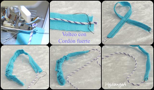 Voltear un tubo de tela con un cordón fuerte