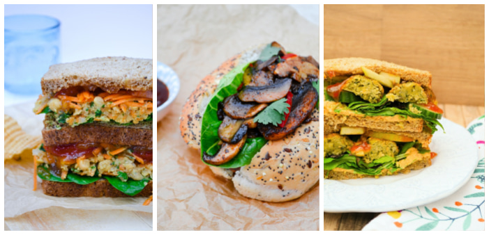 Photos of Spiced Chickpea and Carrot Sandwiches, Falafel & Apple Salad Sandwiches and Vegan BBQ 'Shroom Buns