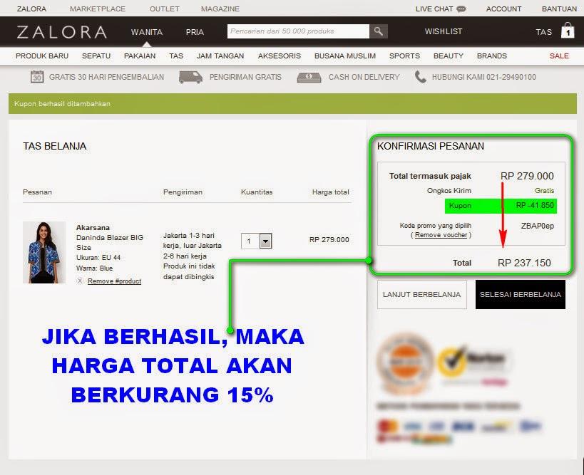 Diskon Zalora 15% Tanpa Minimal Order