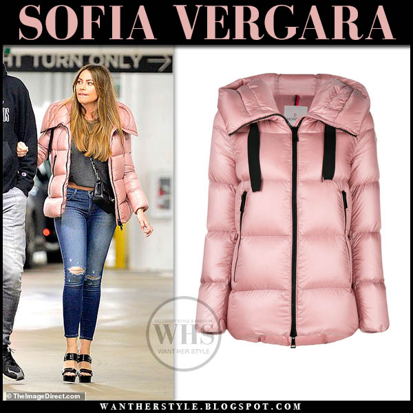 Sofia Vergara in pink puffer moncler serin jacket and skinny jeans winter style january 27