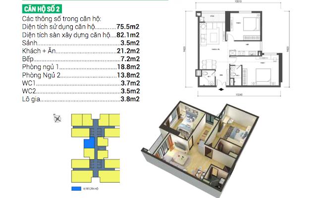 Thiết kế căn số 02 chung cư Housinco Grand Tower