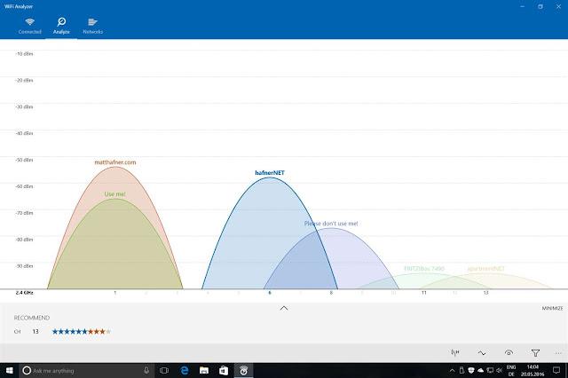 برنامج تحليل الواي فاي لويندوز 10 WiFi Analyzer