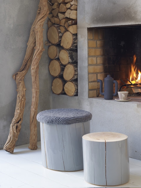 Modern Cabin Decor Stools Home Design Rustic White Fireplace Wooden Cushion Logs Tea Kettle Fire Winter