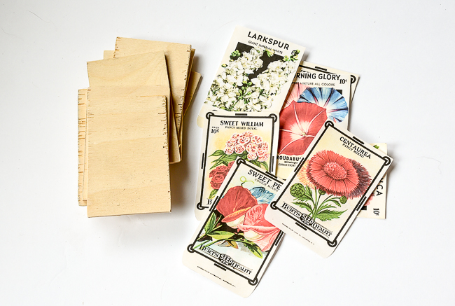 Cut wood and printable for vintage seed packets