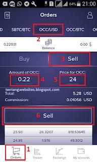 Cara withdraw OCC dari Exrates ke Vip bitcoin.co.id