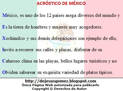Imagen con el acróstico de la palabra México de Jesus Gómez