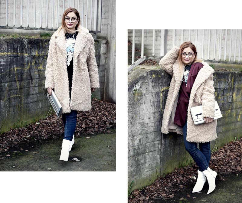 Outfit mit Jeans und weißen Stiefeln, Teddyfellmantel von H&M