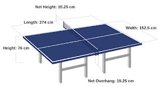 Ukuran detail lapangan tenis meja