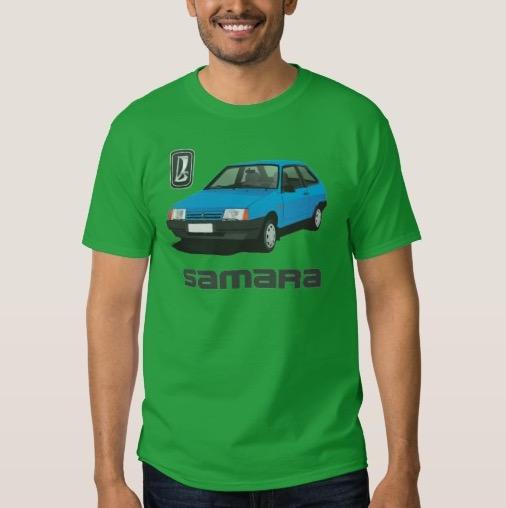 Blue VAZ-2109 Lada Samara automobiles t-shirt