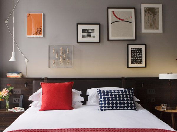 Chic guest room at The Laslett Hotel in Notting Hill in the heart of West London