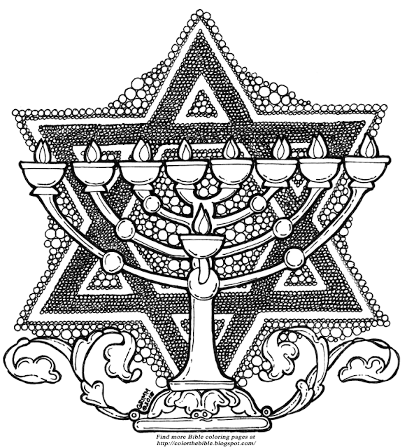 Color this menorah and star of david color the bible for Star of david coloring page
