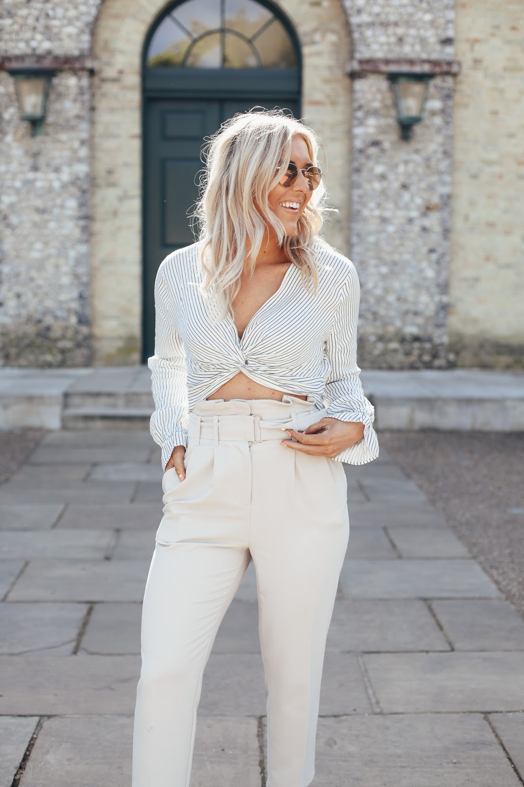 cream tapered trousers