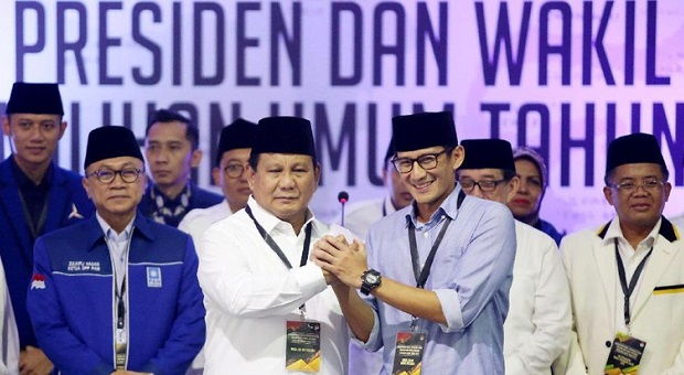 Prabowo-Sandiaga Uno Nomor urut 1 di Pilpres 2019