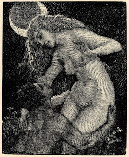 El ladrón de la luna. Grabado con una pareja desnuda bajo la luna