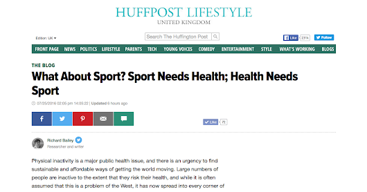 Talking Education and Sport: New Huffington Post blog - What About Sport? Sport Needs Health; Health Needs Sport