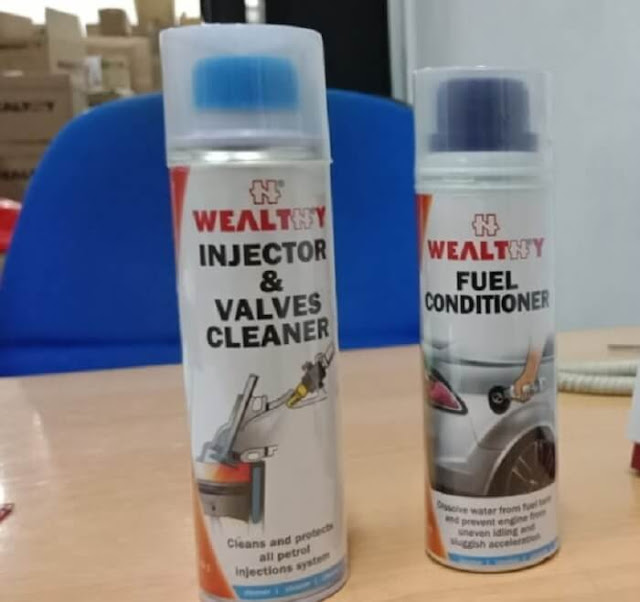 Gambar Cairan Wealthy Automotive Care Membuat Mesin Mobil Bersih - Chemical Injector & Valves Cleaner