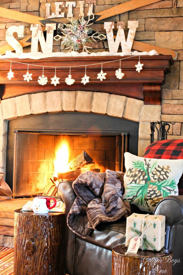Holiday mantel idea - Let It Snow mantel with vintage ski and snow - www.goldenboysandme.com