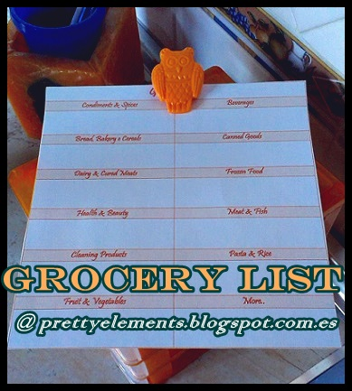 Pretty Elements Organized places, Organized minds Grocery List