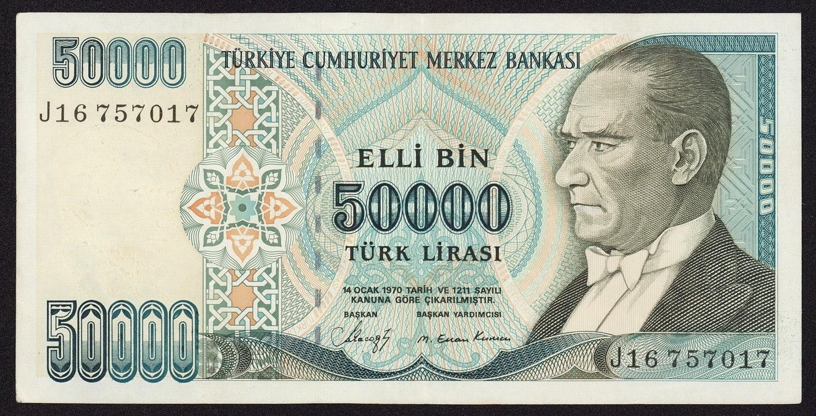 """Turkey Banknotes 50000 Turkish Lira """"Türk Lirasi"""" note 1995 Mustafa Kemal Atatürk"""