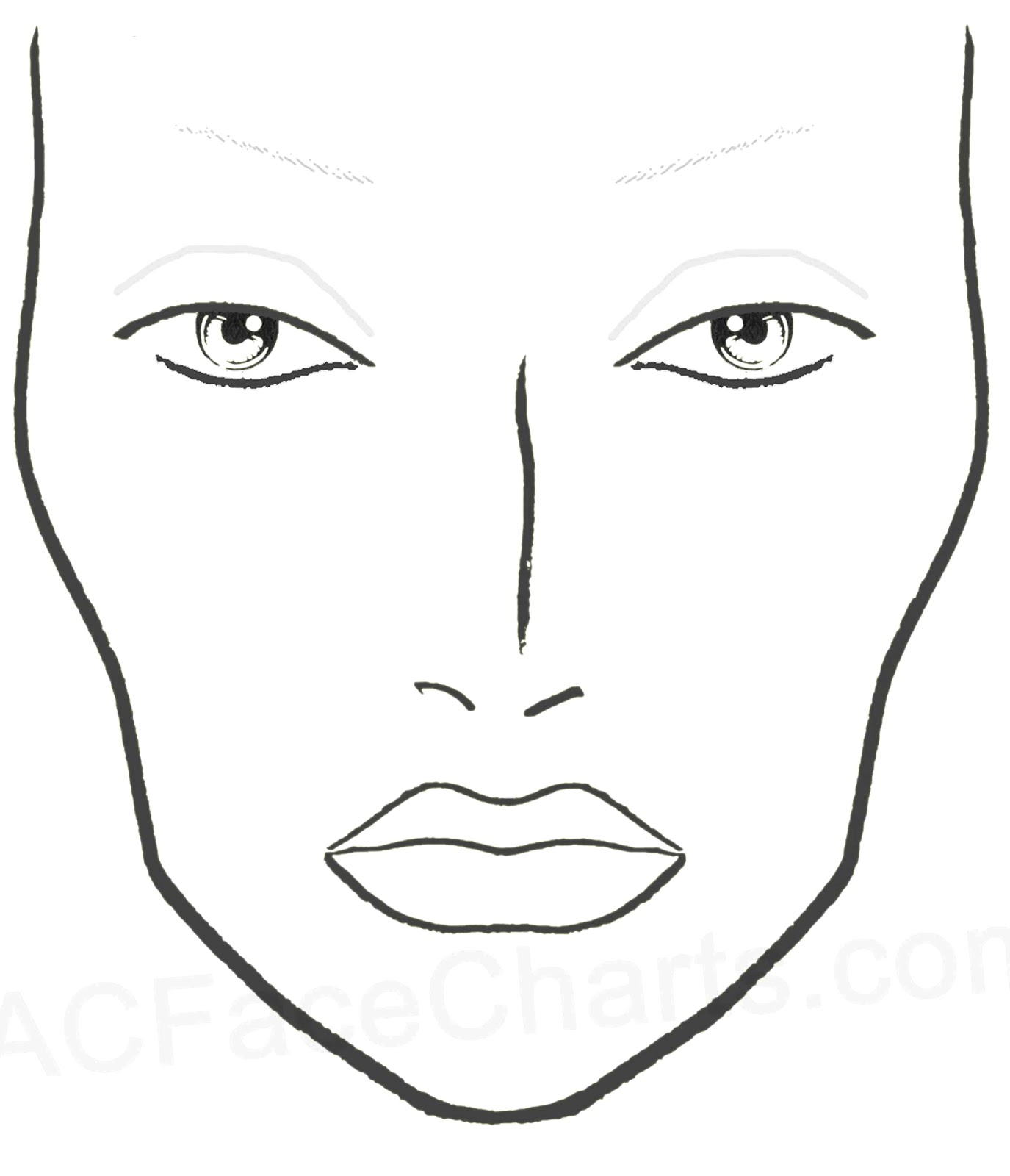 free face chart coloring pages