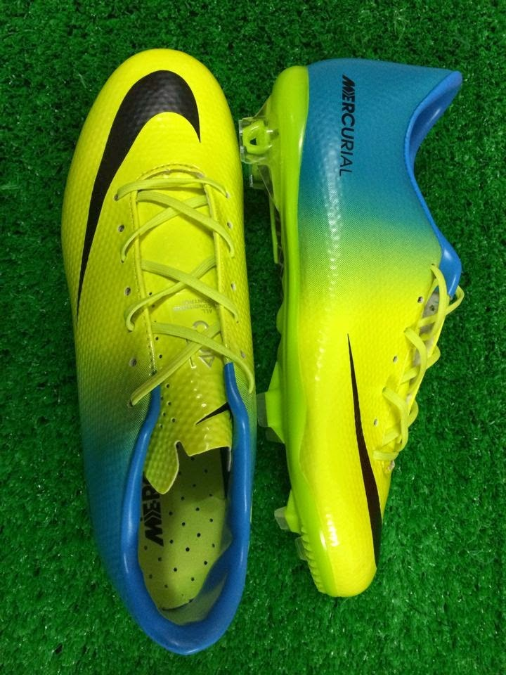 b3d939652 The first Nike Mercurial Vapor IX 2014 Boot Colorway features the main  colors turquoise and green with orange applications and a silver tongue.
