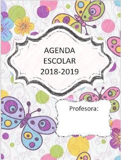 Agenda escolar versión mariposa