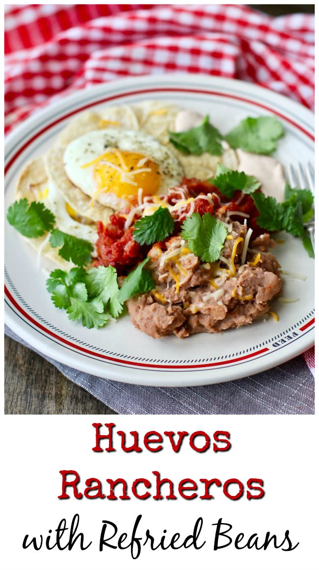 Huevos Rancheros with refried beans and sauce