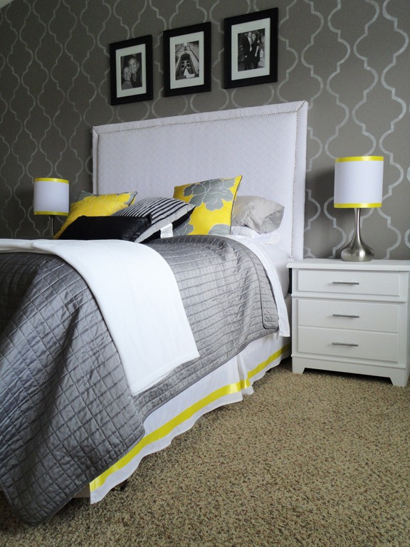 yellow and grey bedroom - photo #21
