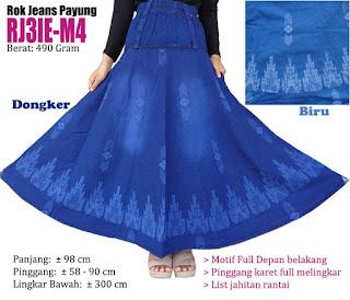 Rok jeans panjang model payung atau klok