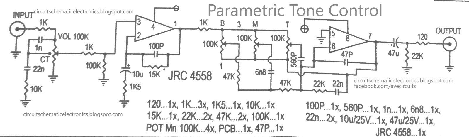 Parametric Tone Control IC4558 and PCB - Electronic Circuit