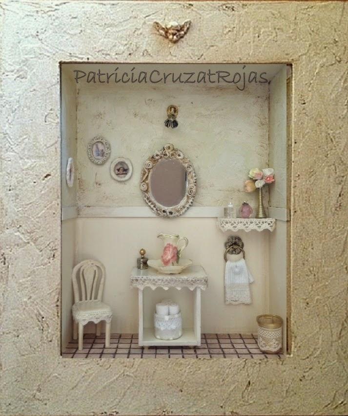 Patricia cruzat artesania y color ba o con miniaturas estilo shabby chic para ella - Banos shabby chic ...