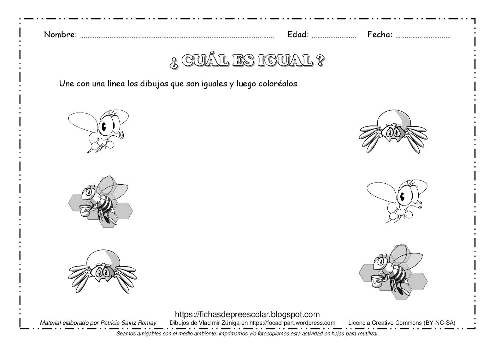 Fichas De Educación Preescolar Cuál Es Igual Unir Los Dibujos