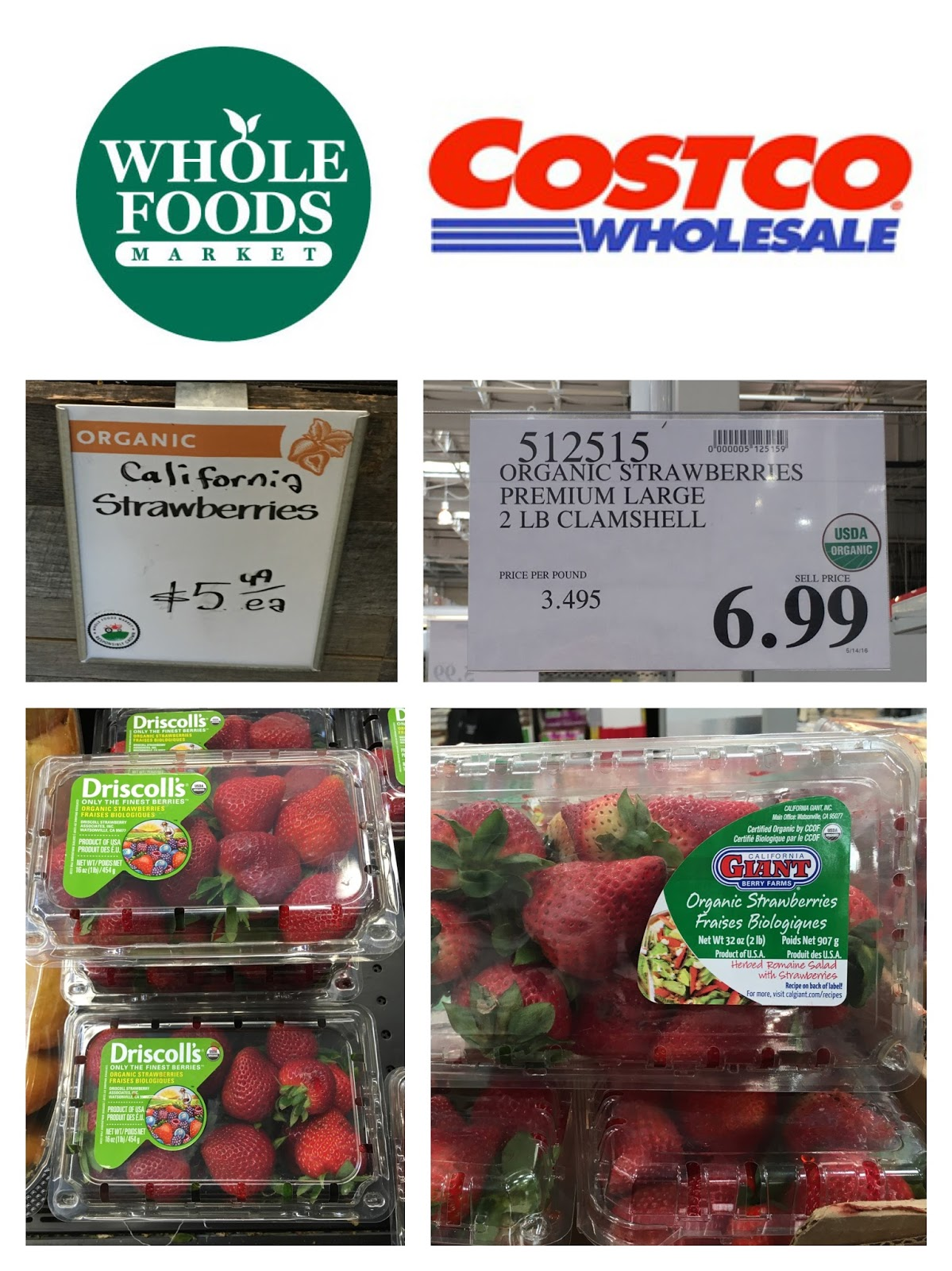 Whole Foods sells 1 lb. containers of organic strawberries for $5.49. & the Costco Connoisseur: May 2016
