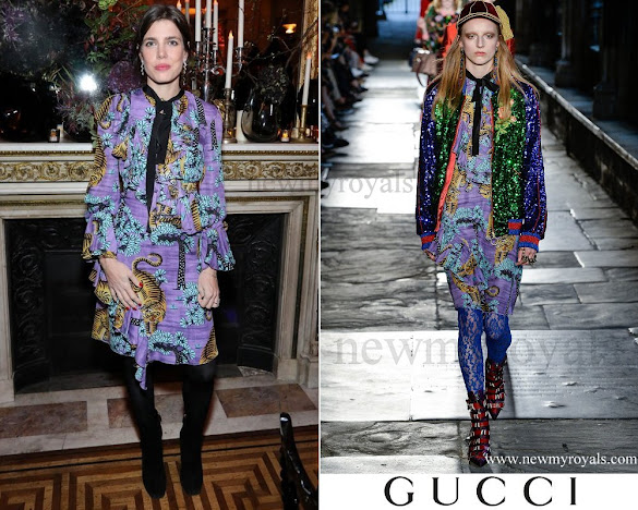 Charlotte Casiraghi wears Gucci Ruffled Floral-Print Silk Crepe Dress from Gucci Resort 2017 Collection