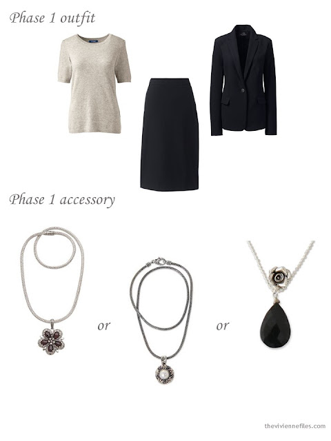 adding a necklace to a 4 by 4 Wardrobe in black, taupe and pink