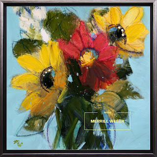 "Original joy-filled floral painting 12"" (30.48cm) x 12"" (30.48cm) mixed media on stretched canvas Framed with an antique silver wood floater frame, wired and ready to hang, by Pennsylvania artist, Merrill Weber"