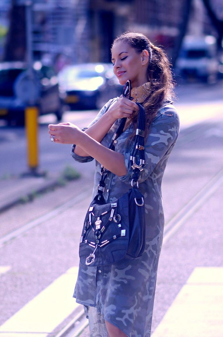 Camouflage shirt dress, Gucci Techno Horsebit bag, Brown bandana scarf, Tamara Chloé, TC Style Clues, Adidas all stars, Amsterdam