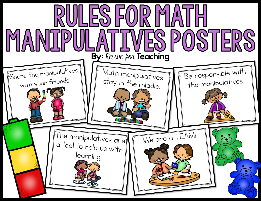 Rules For Math Manipulatives Posters Recipe For Teaching