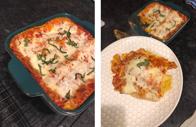 veggie lasagna in pan and plate featuring squash and carrots
