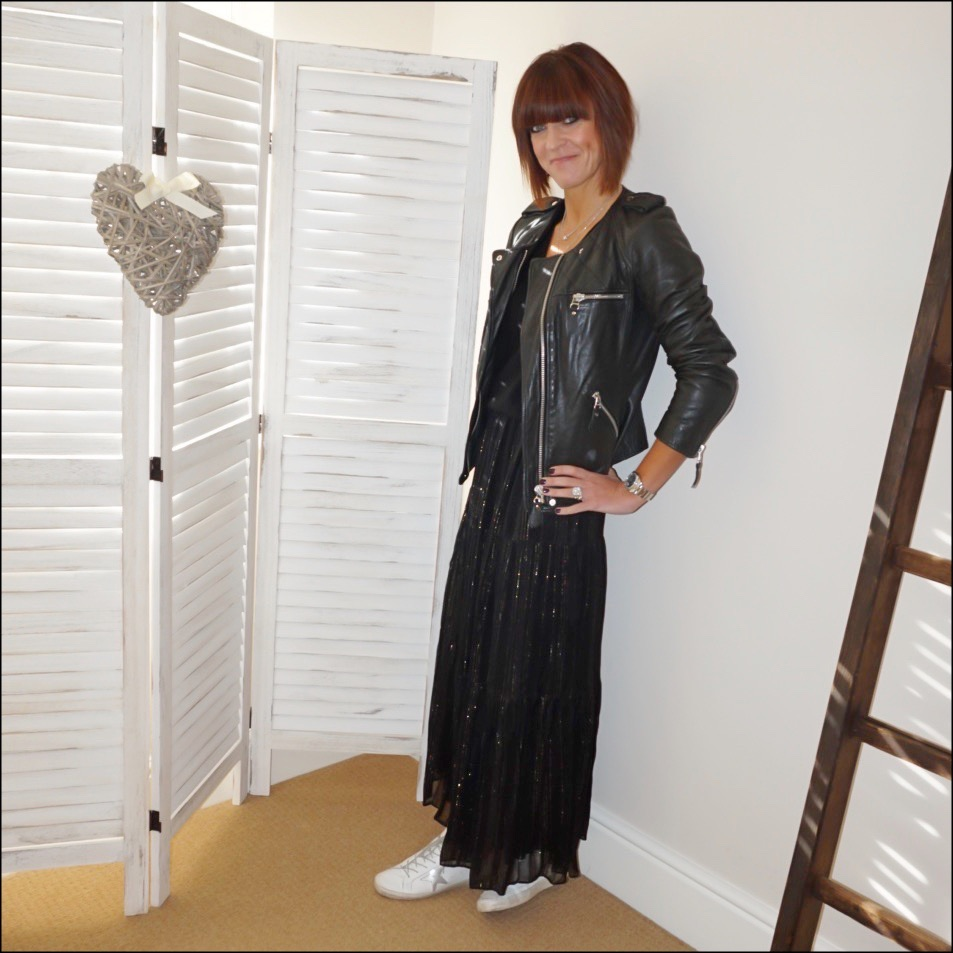 my midlife fashion, isabel marant etoile leather biker jacket, boden boyfriend v neck cashmere jumper, and other stories metallic stripe maxi skirt, golden goose superstar low top leather trainers