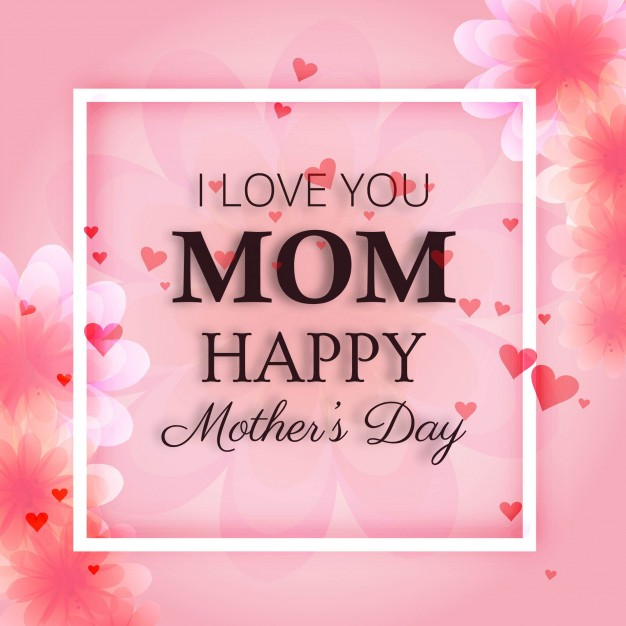 Pink mother's day design with frame Free Vector