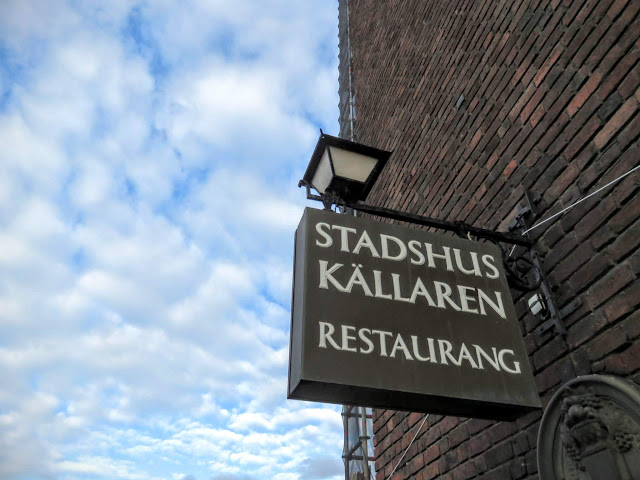 Stadshuskällaren Restaurang sign at the Stockholm City Hall