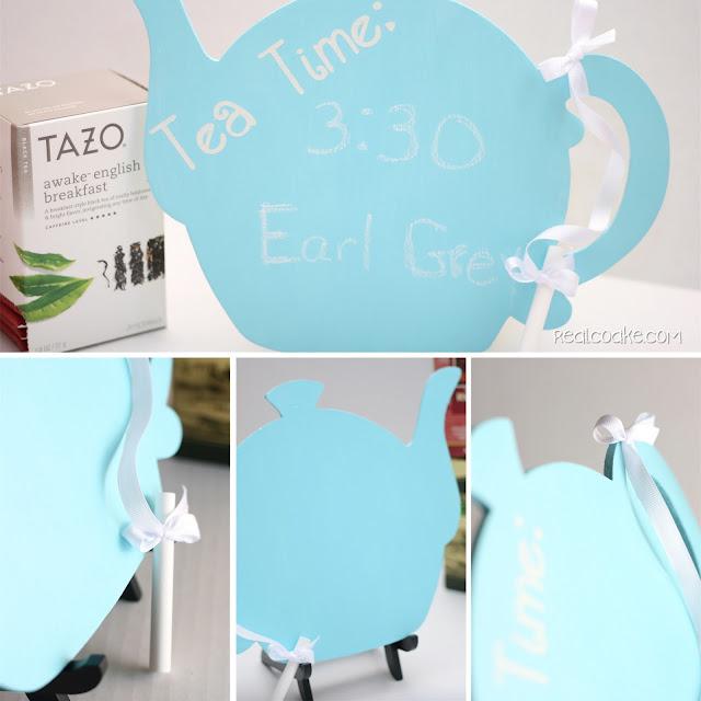 Chalkboard paint ideas ~ Make a cute tea time chalkboard paint tea pot from realcoake.com