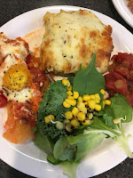 butternut squah lasagna caponat greens with sprounts shakshuka